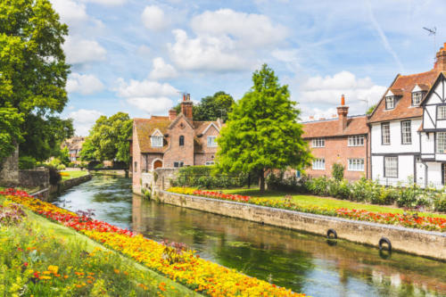 View of typical houses and buildings in Canterbury, England