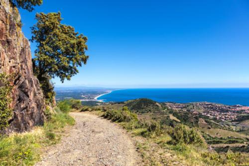 Port-Vendres vue depuis la côte de Vermeille, Pyrénées- Orientales, Catalogne, Languedoc-Roussillon, France