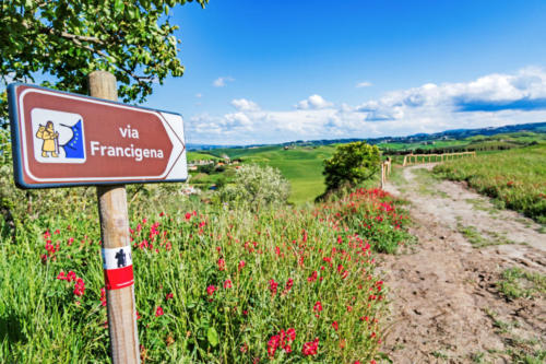 Via Francigena pilgrim path, Tuscany, Italy: road sign at beautiful Tuscany landscape background, spring scenery. Via Francigena is famous pilgrim path and popular travel hiking trail.