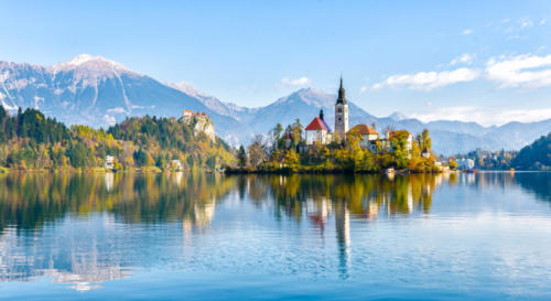Lake Bled Slovenia. Beautiful mountain lake with small Pilgrimage Church.