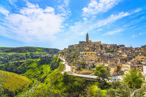Matera ancient town i Sassi, Unesco site landmark. Basilicata, Italy.