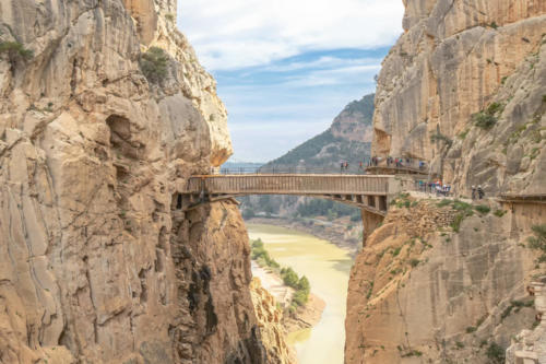Bridge in gorge of the Gaitanes in el Caminito del Rey (The King's Little Path). A walkway, pinned along the steep walls of a narrow gorge in El Chorro, near Ardales in the province of Malaga, Spain