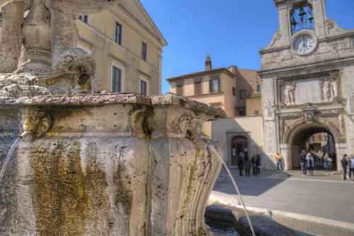 Sutri, Italy - Town Hall Square, Fountain and Bell Tower