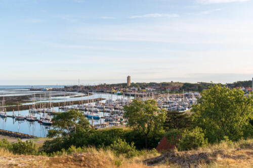 Panorama of the port of Terschelling. The Netherlands, Europe.