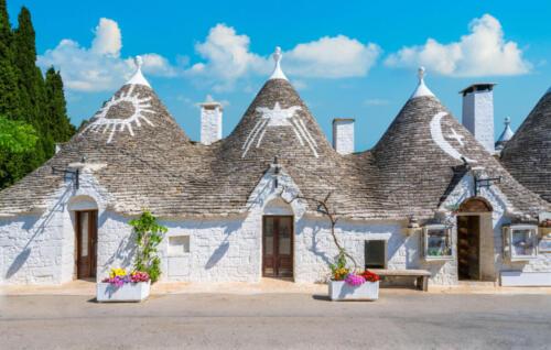 Scenic sight in Alberobello, the famous Trulli village in Puglia (Apulia), southern Italy.