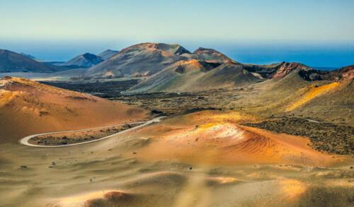 beautiful postcard view of Montanas del fuego in Timanfaya National Park, Lanzarote, Canary Islands