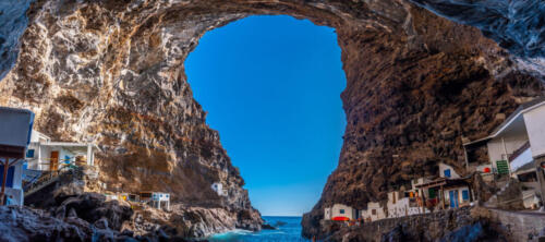 Panoramic view from the spectacular interior of the cave of the town of Poris de Candelaria on the north-west coast of the island of La Palma, Canary Islands. Spain. Pirate town