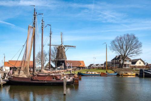 Windmill de Hoop at the Vissershaven in Harderwijk, Gelderland Province, The Netherlands