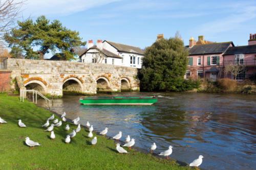 Christchurch Dorset England UK River Avon bridge