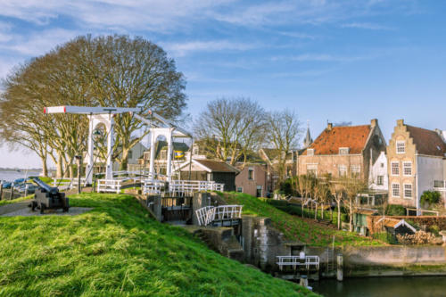 Picturesque village Schoonhoven near the river Lek in the Netherlands